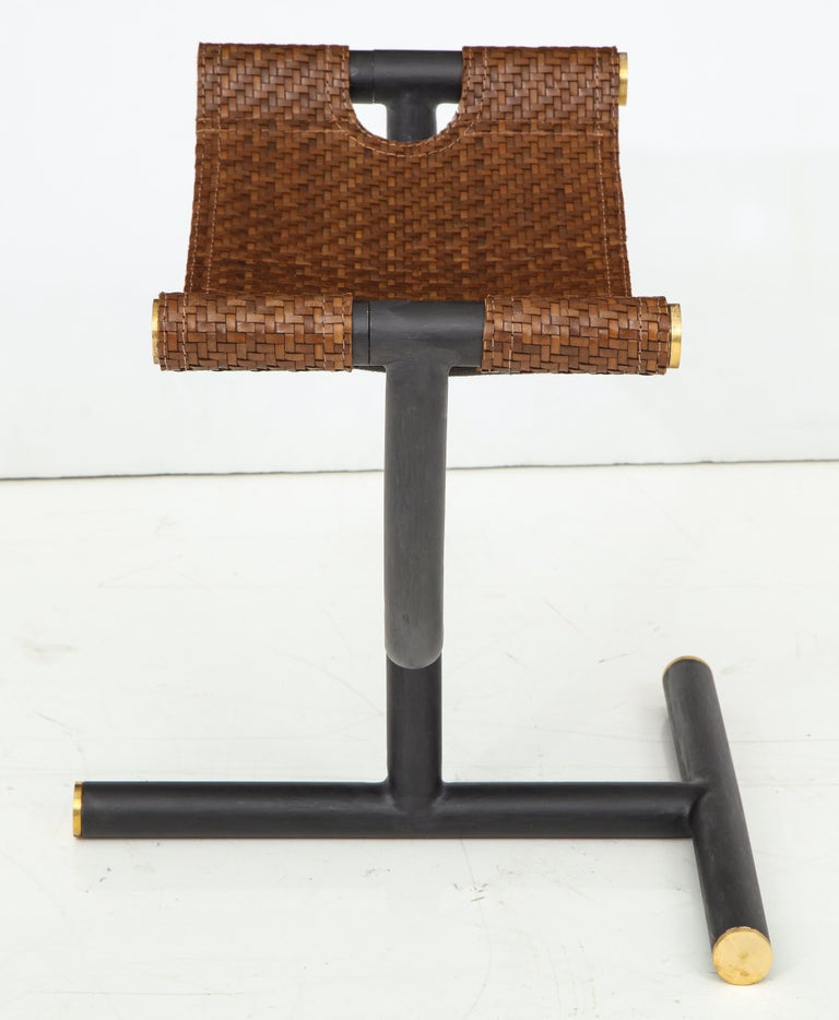 Pair of Woven Leather and Steel with Brass Stools, Italy, circa 1980 For Sale 9