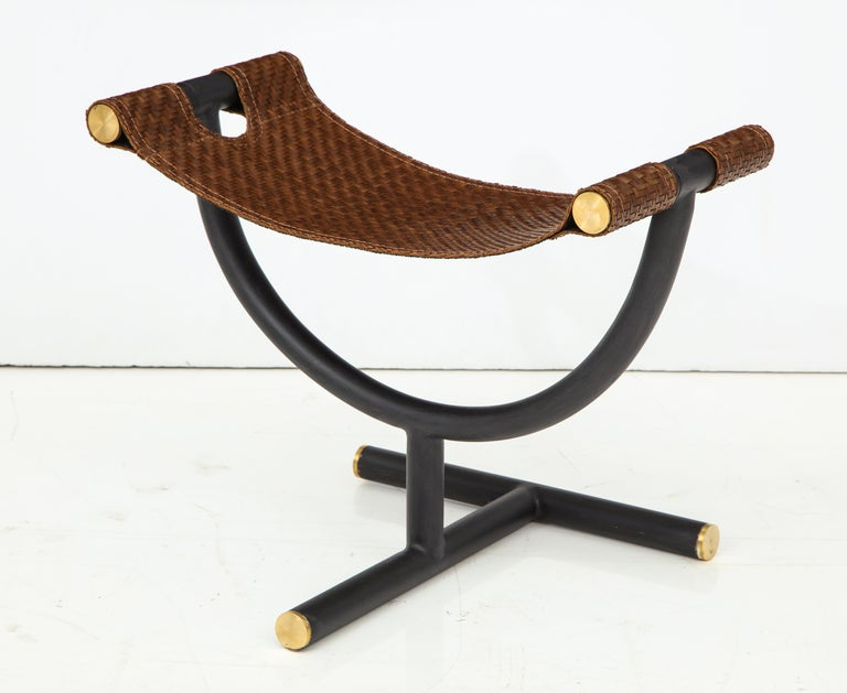 Pair of Woven Leather and Steel with Brass Stools, Italy, circa 1980 For Sale 10