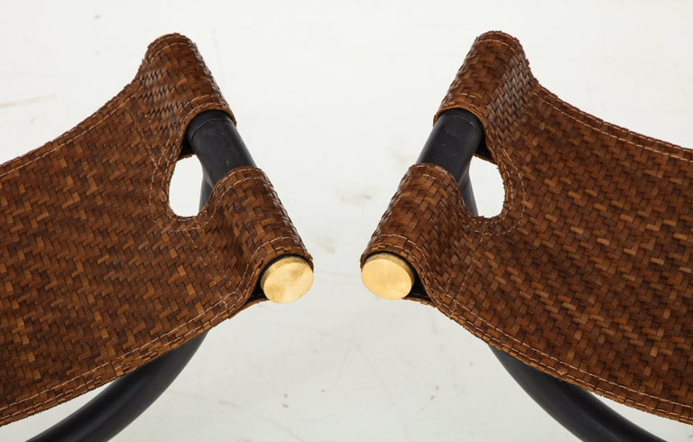 Pair of Woven Leather and Steel with Brass Stools, Italy, circa 1980 For Sale 4