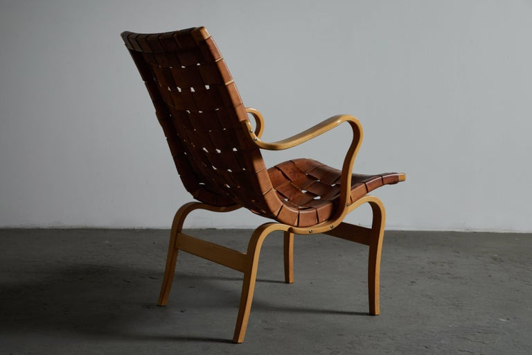 Late 20th Century Pair of Woven Leather Eva Chairs by Bruno Mathsson For Sale