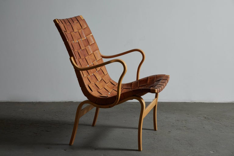 Pair of Woven Leather Eva Chairs by Bruno Mathsson For Sale 2