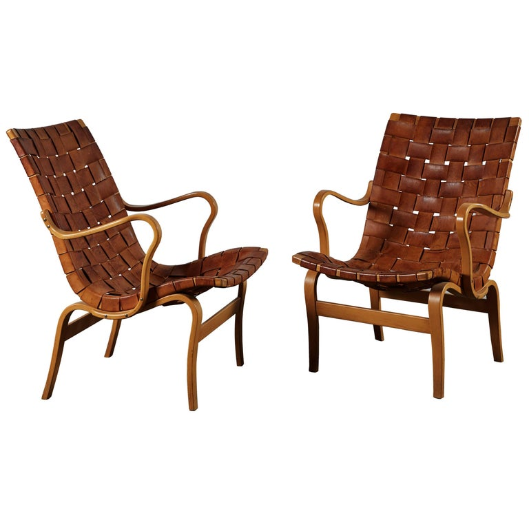 Pair of Woven Leather Eva Chairs by Bruno Mathsson For Sale