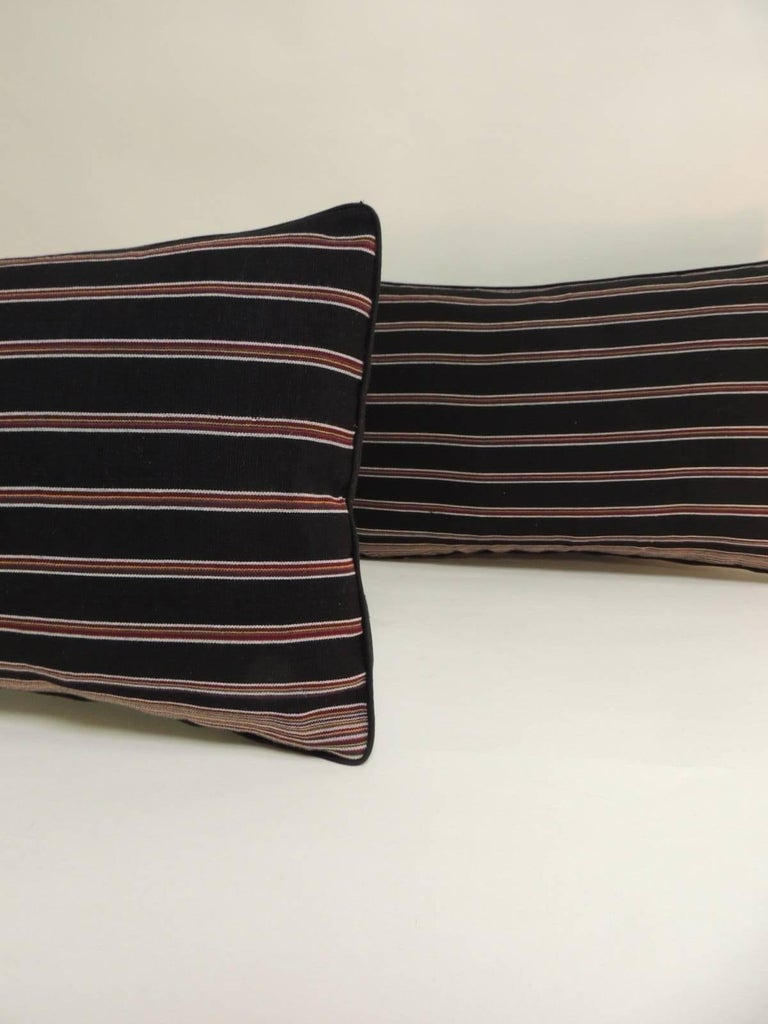 Japonisme Pair of Woven Obi Red and Black Stripes Lumbar Decorative Pillows For Sale