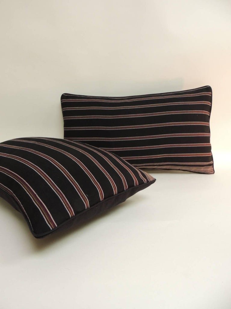Hand-Crafted Pair of Woven Obi Red and Black Stripes Lumbar Decorative Pillows For Sale