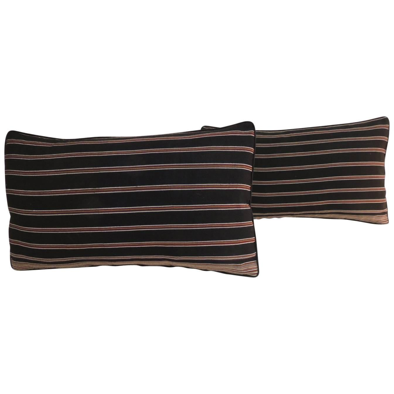 Pair of Woven Obi Red and Black Stripes Lumbar Decorative Pillows