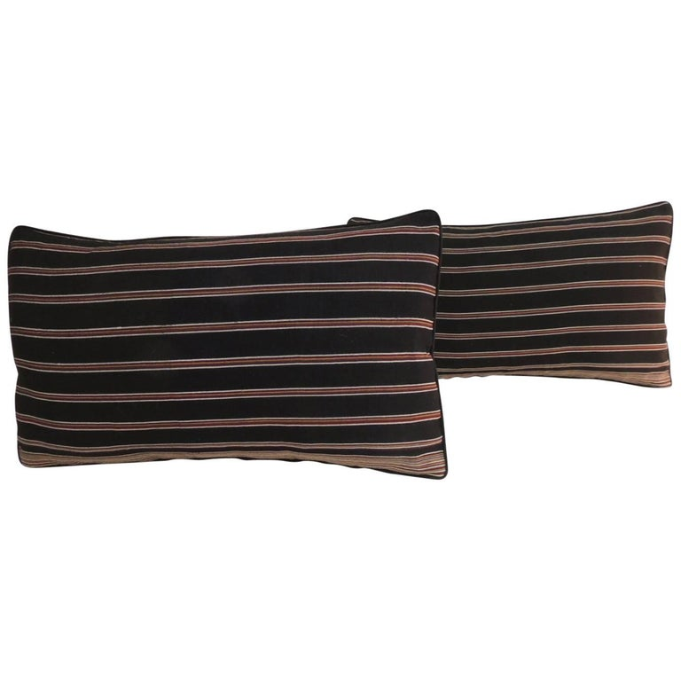 Pair of Woven Obi Red and Black Stripes Lumbar Decorative Pillows For Sale
