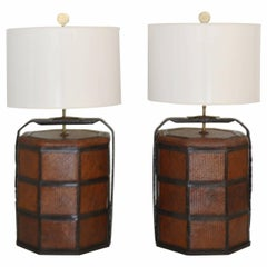 Paar Woven Rattan Basket Tables Lamps