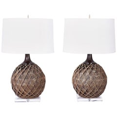 Pair of Woven Rattan or Reed Table Lamps