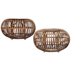 Pair of Woven Rattan Ottomans by Franco Albini