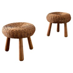 Pair of Woven Rattan Stools Attributed to Tony Paul