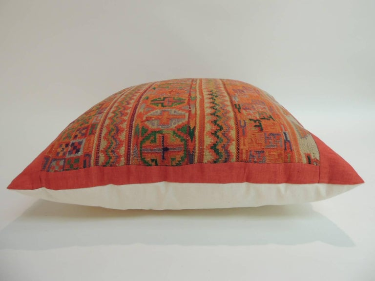 Moorish Pair of Woven Turkish Orange and Green Decorative Square Pillows For Sale