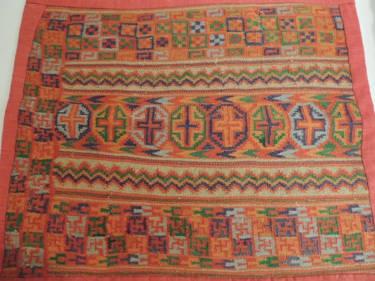 Hand-Crafted Pair of Woven Turkish Orange and Green Decorative Square Pillows For Sale