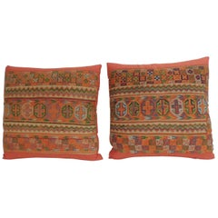 Pair of Woven Turkish Orange and Green Decorative Square Pillows