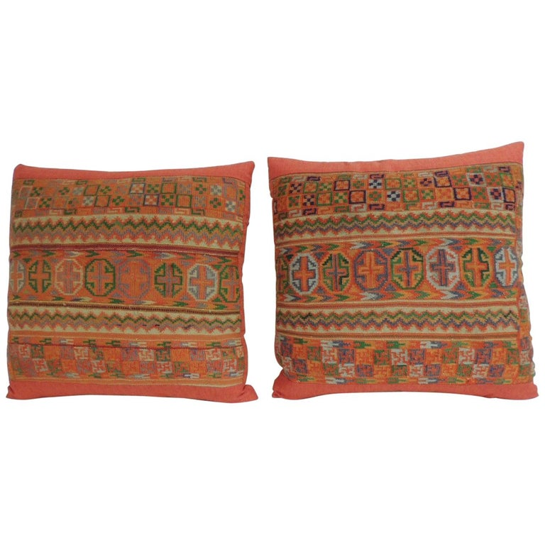 Pair of Woven Turkish Orange and Green Decorative Square Pillows For Sale