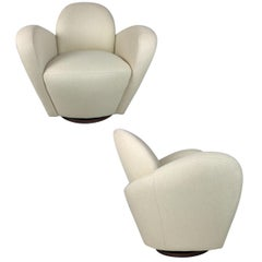 Pair of Wrap Around Swivel Chairs