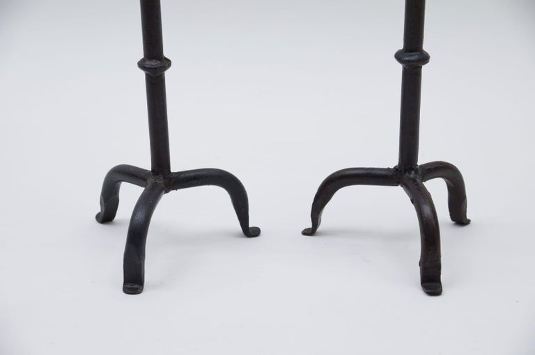 French Pair of Wrought Brutalist Candleholders, 1960s France For Sale