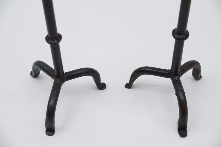 Pair of Wrought Brutalist Candleholders, 1960s France In Excellent Condition For Sale In Nürnberg, Bayern