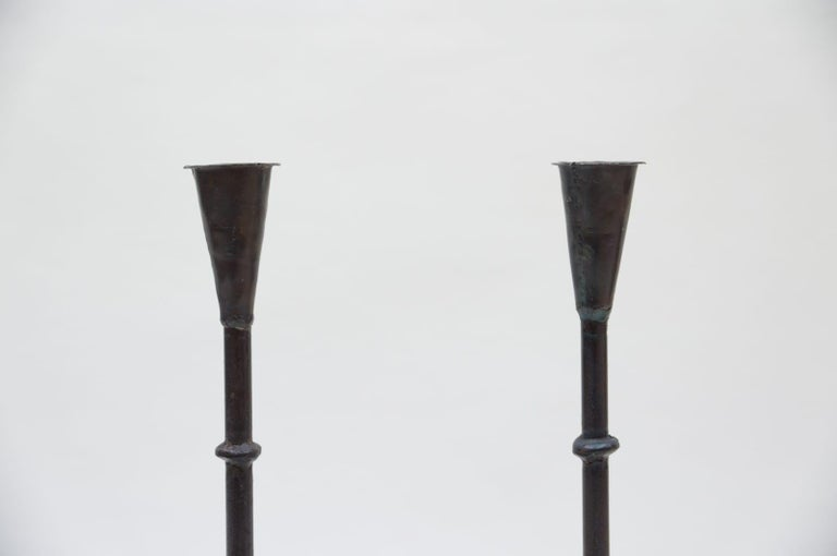 Wrought Iron Pair of Wrought Brutalist Candleholders, 1960s France For Sale