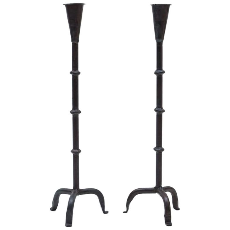 Pair of Wrought Brutalist Candleholders, 1960s France