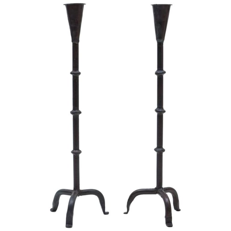 Pair of Wrought Brutalist Candleholders, 1960s France For Sale