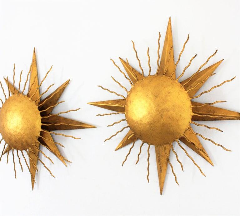 Pair of Wrought Gilt Iron Starburst Sunburst Wall Light Fixtures, Spain 1950s For Sale 6