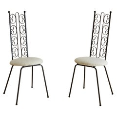 Pair of Wrought Iron Accent Chairs in Ivory Boucle