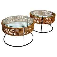 Pair of Wrought Iron and Bamboo End Tables / Stools Arthur Umanoff 1960