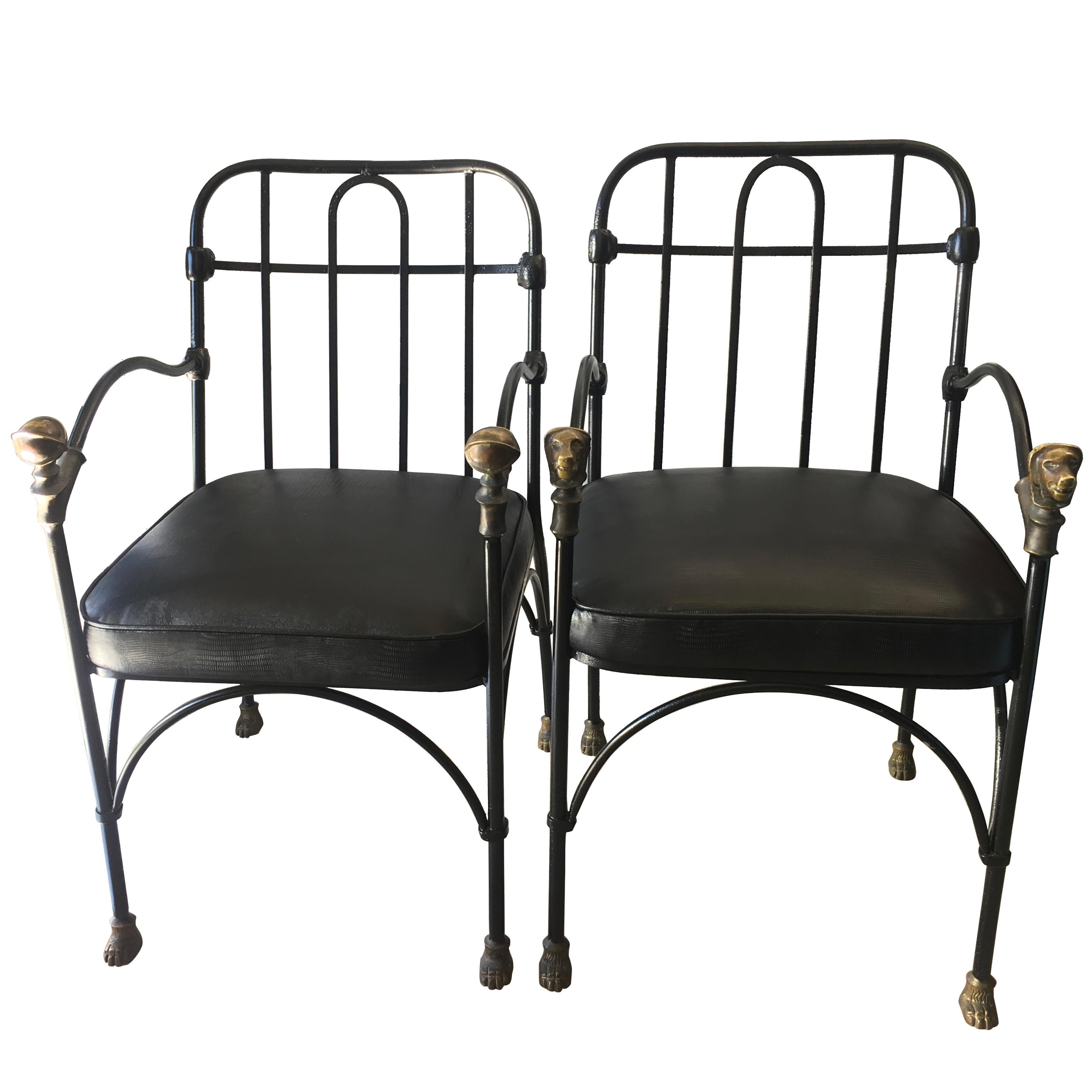 Pair of wrought iron and bronze chairs after giacometti for sale at 1stdibs