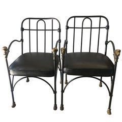 Pair of Wrought Iron and Bronze Chairs After Giacometti