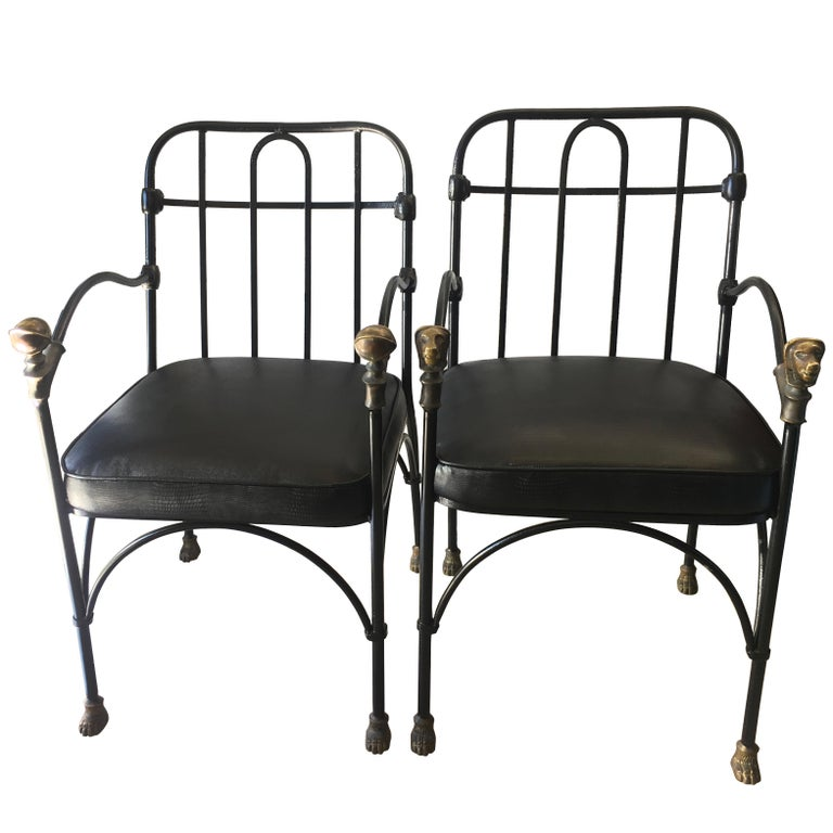 Pair of Wrought Iron and Bronze Chairs After Giacometti For Sale
