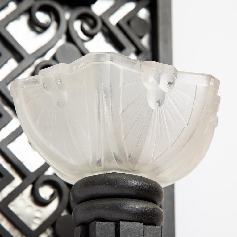French Pair of Wrought Iron and Glass Sconces, Art Deco Period, France, circa 1930 For Sale