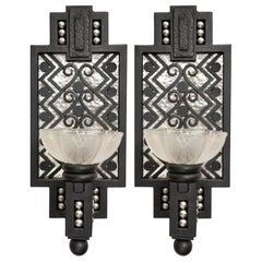 Pair of Wrought Iron and Glass Sconces, Art Deco Period, France, circa 1930