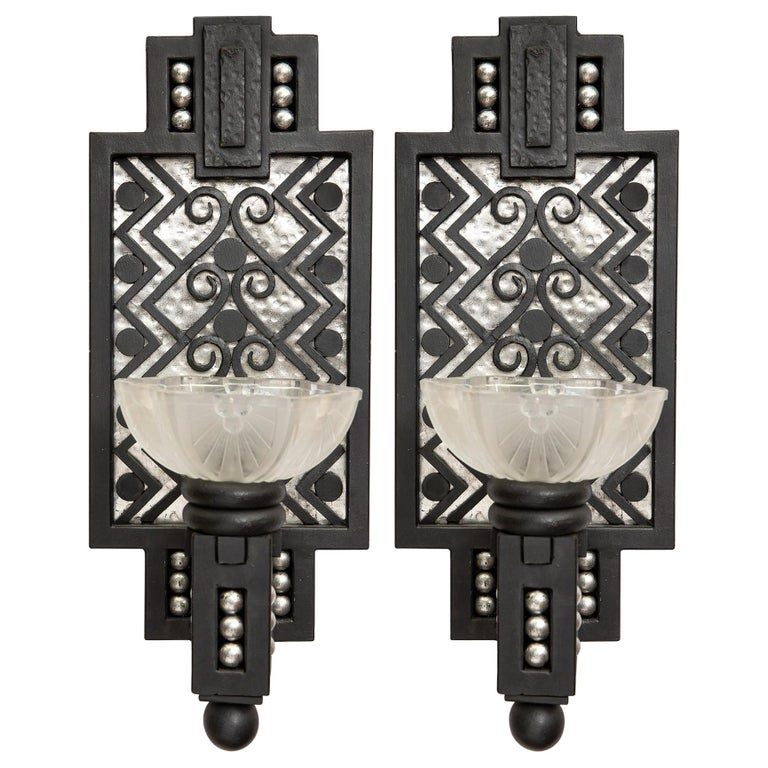 Pair of Wrought Iron and Glass Sconces, Art Deco Period, France, circa 1930 For Sale