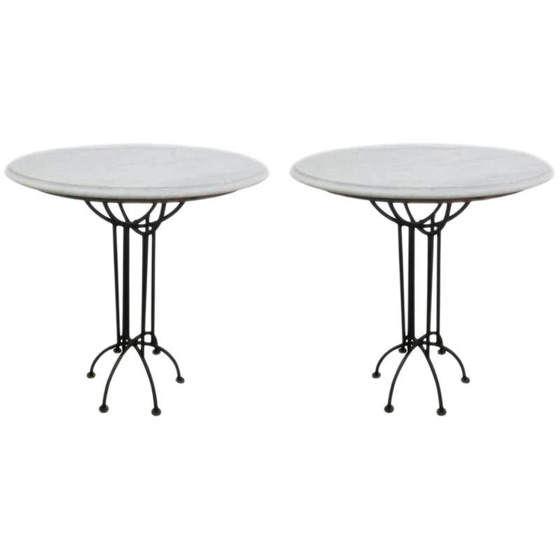 Pair of Wrought Iron and Italian Marble-Top Tables