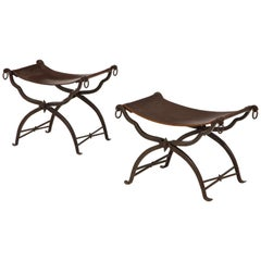 Pair of Wrought Iron and Leather Curule Stools by Morgan Colt