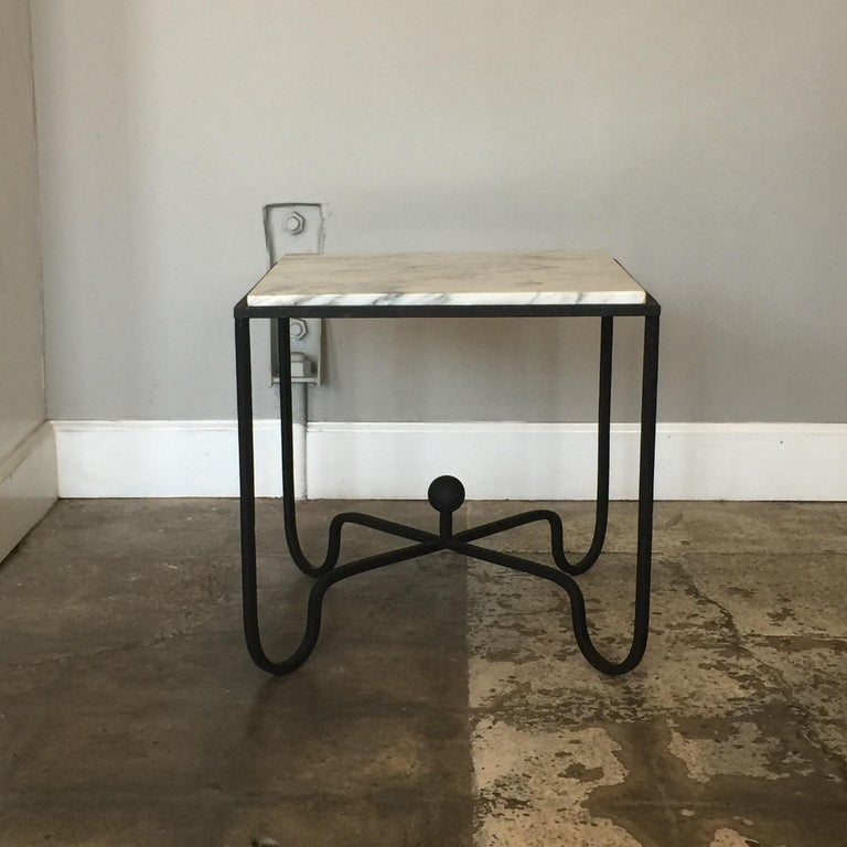 French Pair of Wrought Iron and Marble 'Entretoise' Side Tables by Design Frères For Sale