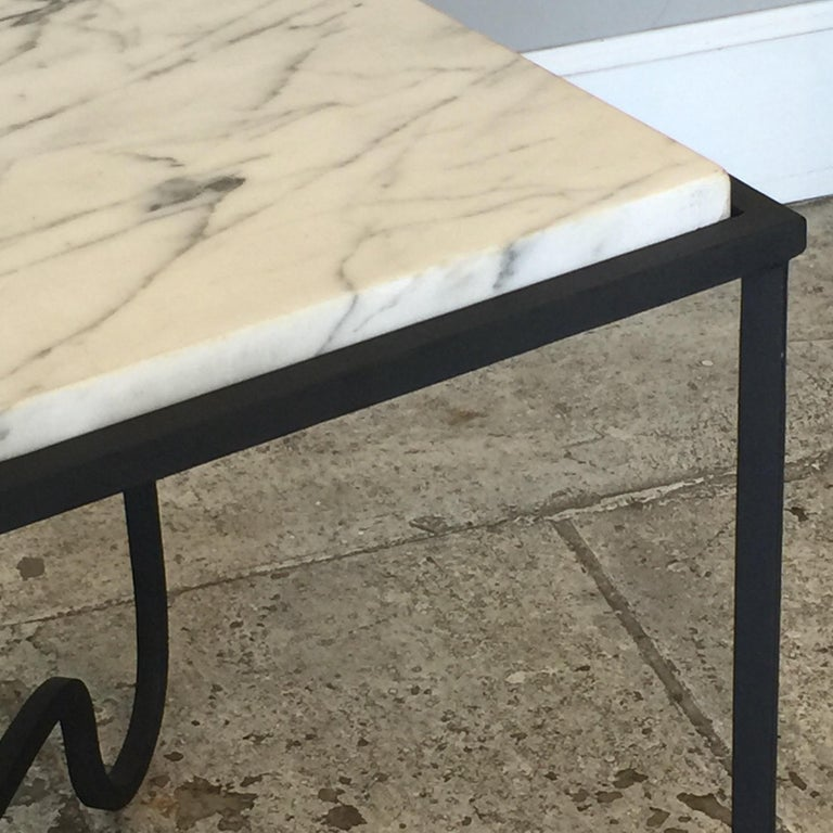 Pair of Wrought Iron and Marble 'Entretoise' Side Tables by Design Frères In Excellent Condition For Sale In Los Angeles, CA