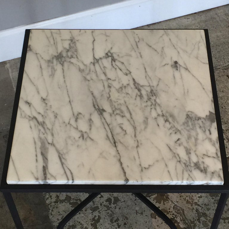 Pair of Wrought Iron and Marble 'Entretoise' Side Tables by Design Frères For Sale 1