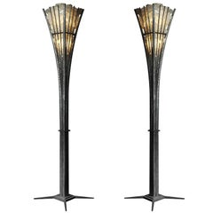 Pair of  Wrought Iron and Rock Crystal Floor Lamp