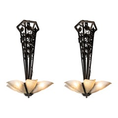 Pair of Wrought Iron and Savino Glass Chandelier, France, circa 1930
