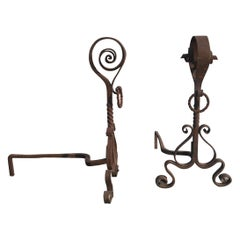 Pair of Wrought Iron Arts & Crafts Andirons