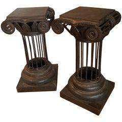 Pair of Wrought Iron Arturo Pani Column Martini Cigar Tables