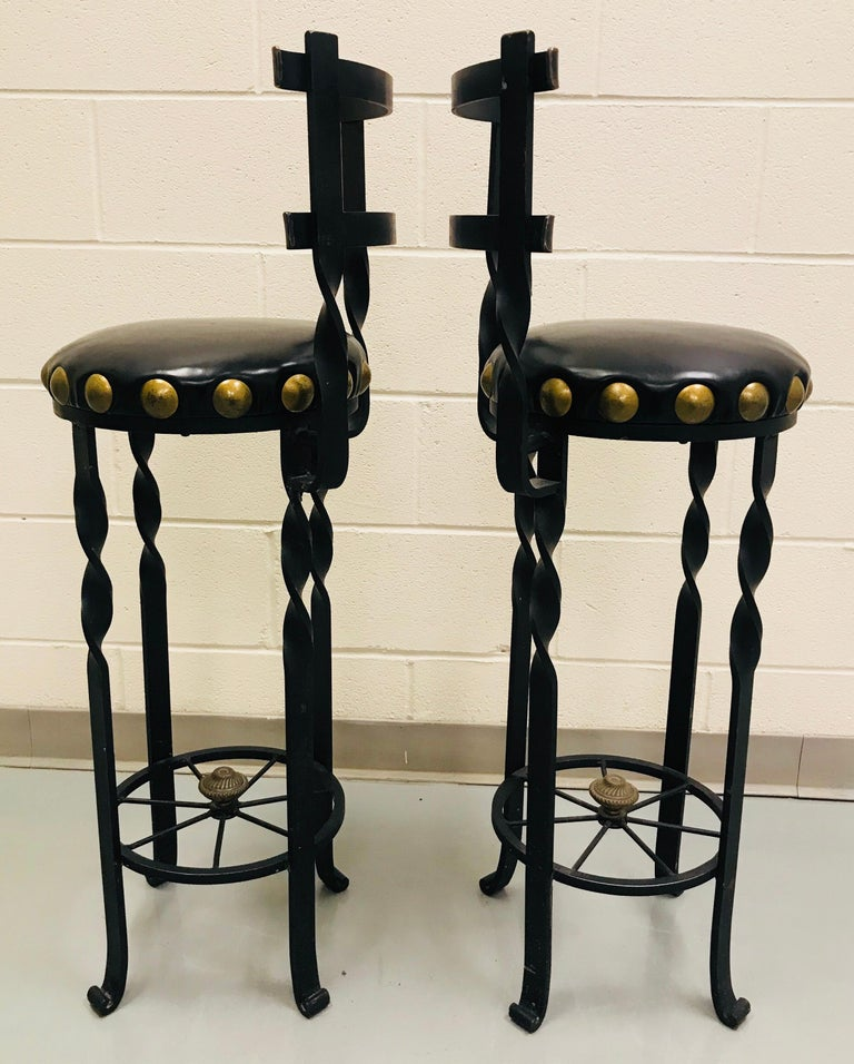 Pair of Wrought Iron Bar or Counter Stools For Sale 6