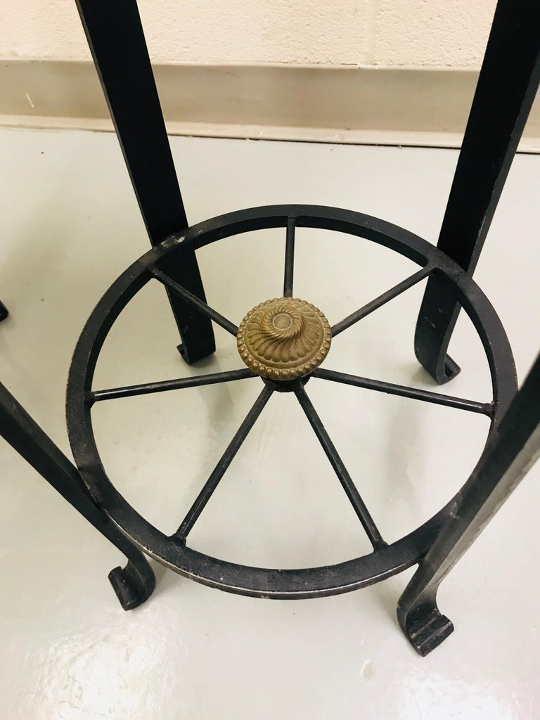 Pair of Wrought Iron Bar or Counter Stools For Sale 9