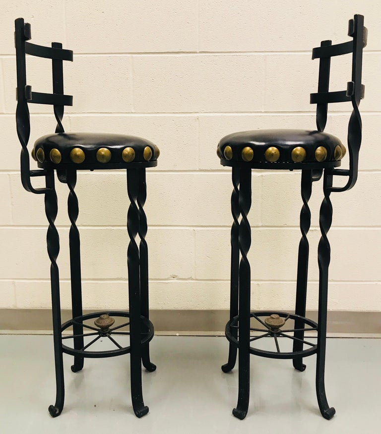 Late 20th Century Pair of Wrought Iron Bar or Counter Stools For Sale