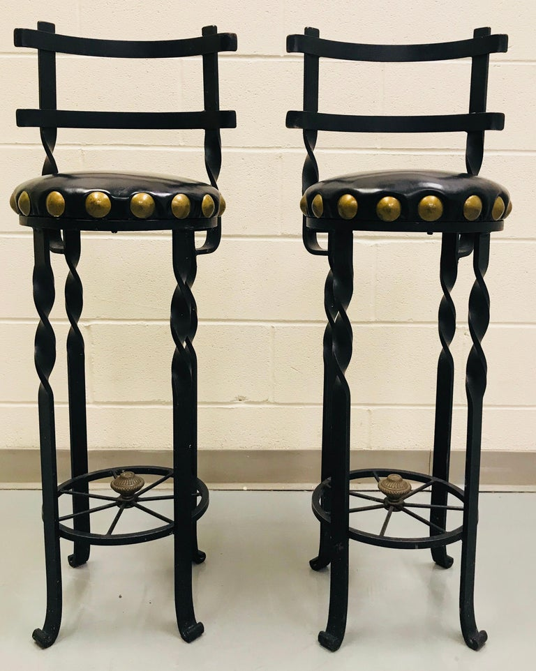 Pair of Wrought Iron Bar or Counter Stools For Sale 1