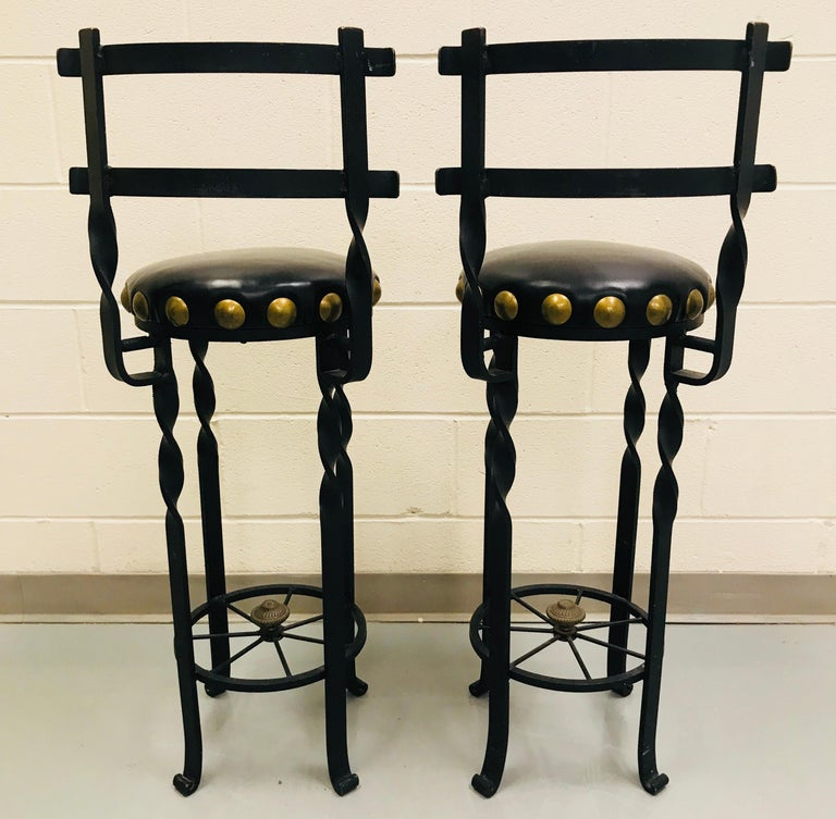 Pair of Wrought Iron Bar or Counter Stools For Sale 3