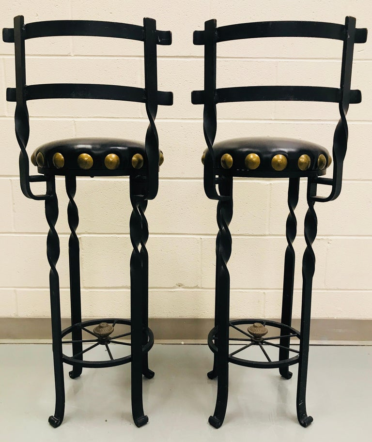 Pair of Wrought Iron Bar or Counter Stools For Sale 4