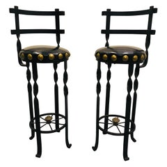 Pair of Wrought Iron Bar or Counter Stools
