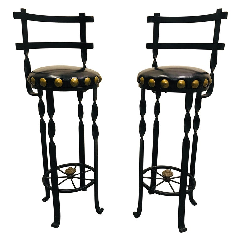 Pair of Wrought Iron Bar or Counter Stools For Sale
